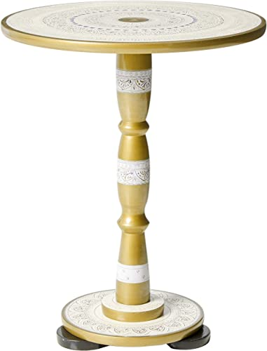 Hand-Crafted Round Side Table for Living Room or End Table for Bedroom by EXCESSORIZE THAT- Sangemarmar White 19 Tall