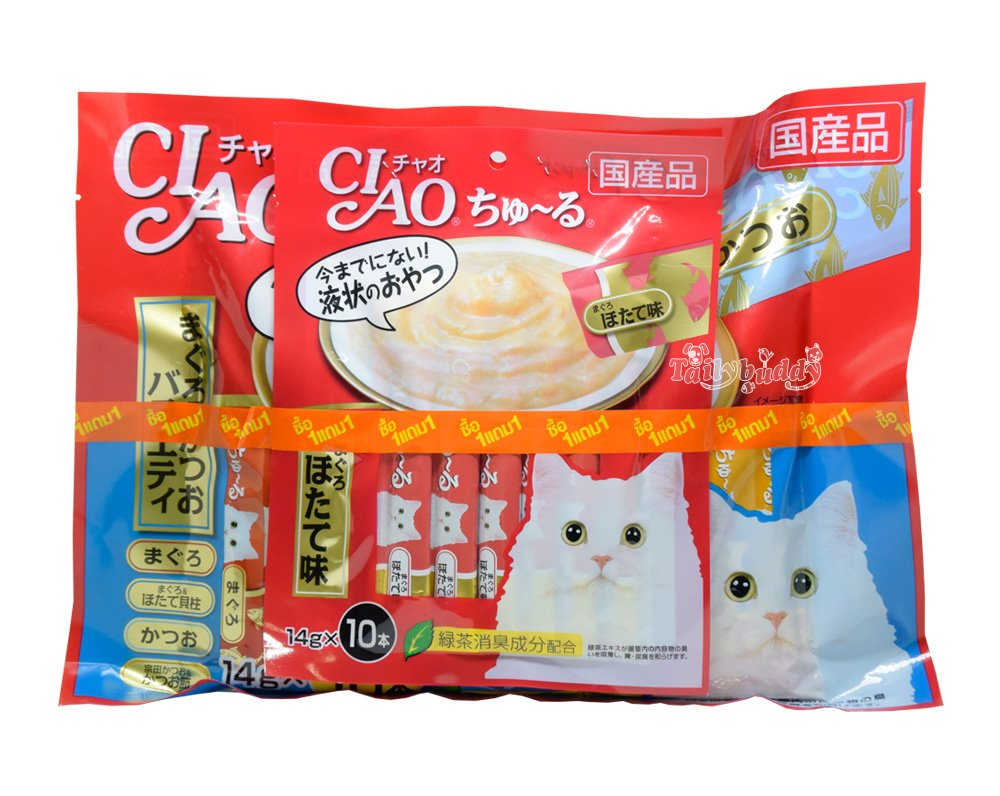 CIAO BIG BAG! chu ru Flavor Tuna maguro katsuo variet (40 pieces / pack) Free cat snacks/food mixed flavors 10 pcs. by Ciao