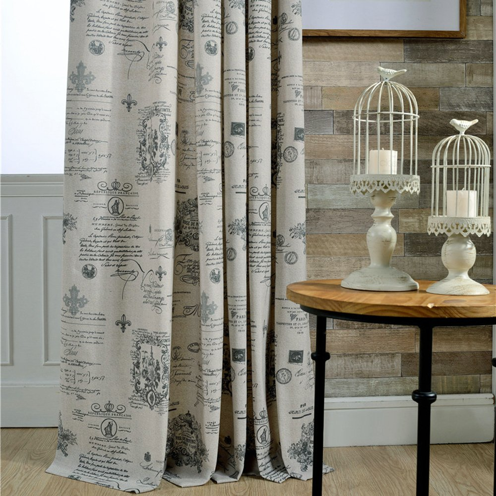 Amazon.com: Anady Top Blackout Gray Curtains Linen Cotton Grommet 2 Panel Classic Pattern Curtains for Bedroom Grommet 96 inch Lenght(Customized Available): ...