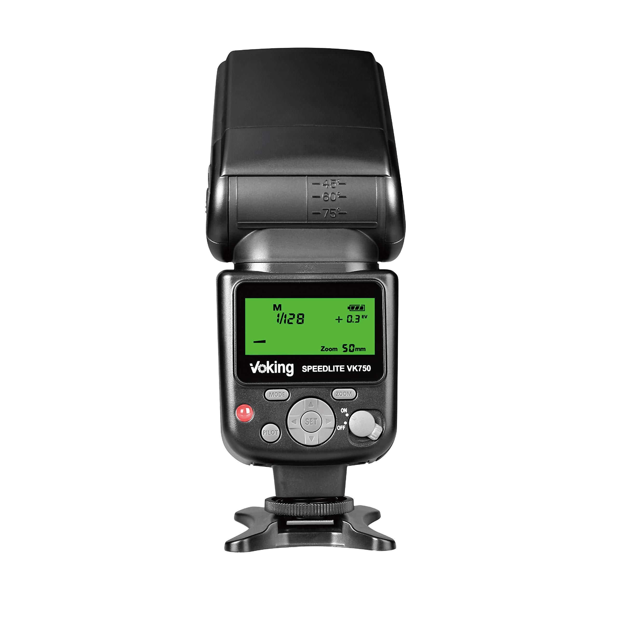 Voking VK750 Manual LCD Display Universal Flash Speedlite for Canon Nikon Pantax Panasonic Olympus Fujifilm DSLR Mirrorless Cameras and Cameras by VOKING