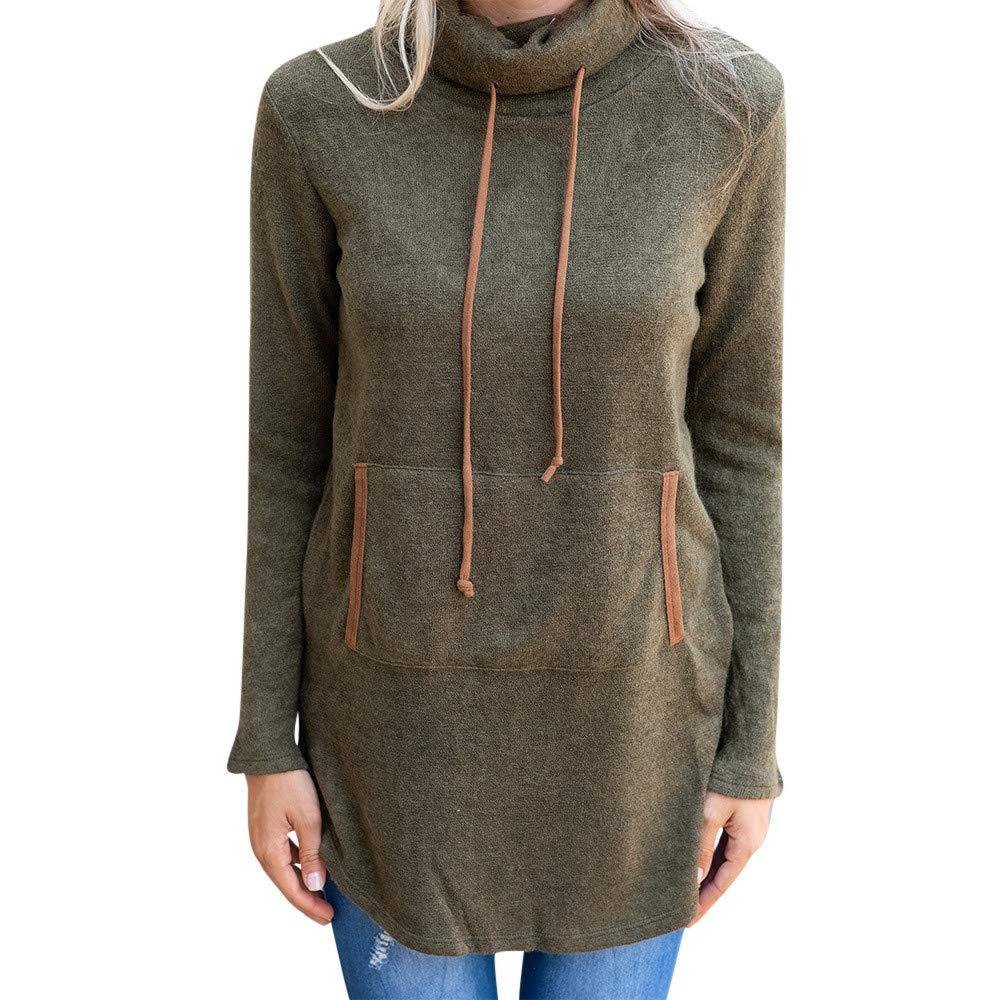 Rambling Womens Cozy High Neck Long Sleeve Solid Pullover Drawstring Hoodie Sweatshirt with Kangaroo Pocket
