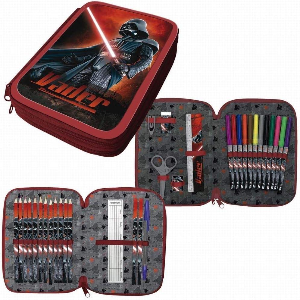 ARDITEX Estuche PLUMIER Doble Star Wars Darth Vader 33 PZAS con Dos Pisos Y Dos Cremalleras: Amazon.es: Juguetes y juegos