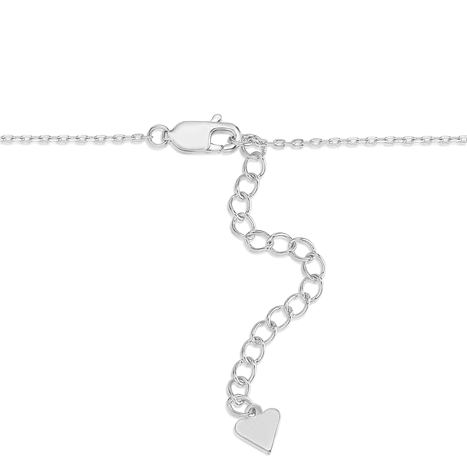 UNICORNJ Sterling Silver 925 Initial Bracelet with Pave CZ Letter 7 Italy