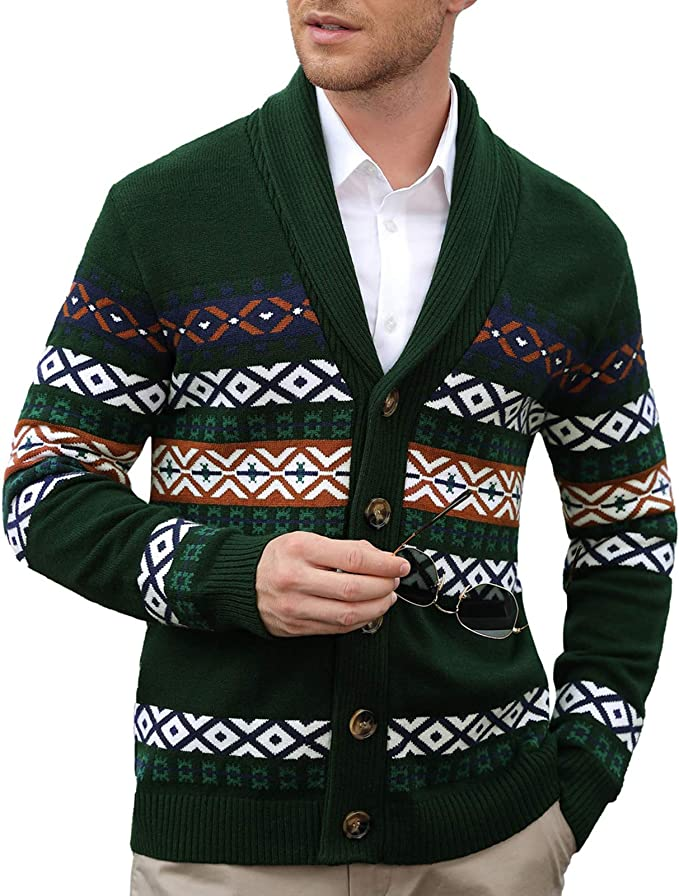 Men's Vintage Sweaters, Retro Jumpers 1920s to 1980s PJ PAUL JONES Mens Cardigan Sweaters Shawl Collar Button Fair Isle Knitted Sweater $39.99 AT vintagedancer.com