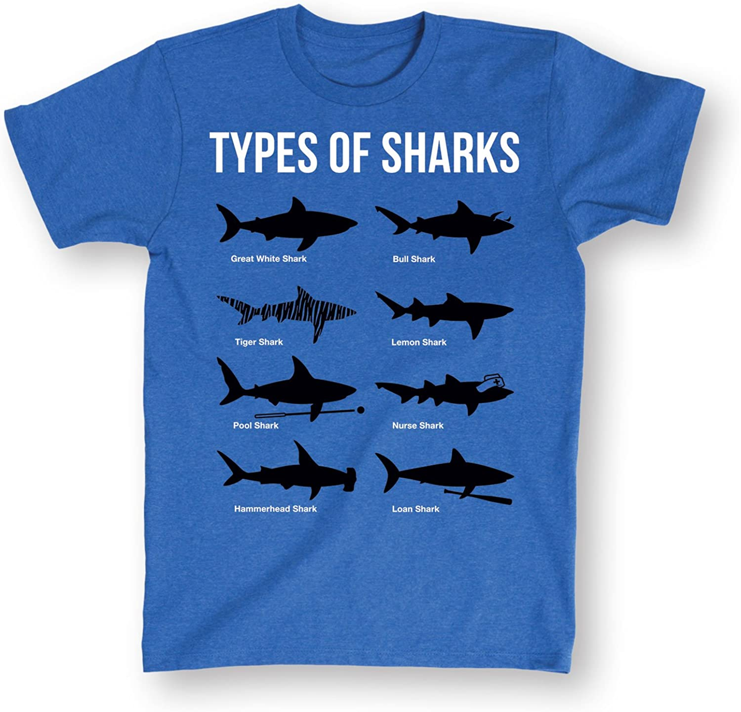 Types of Sharks Funny Blue T-Shirt-Great White Shark Species Shirt