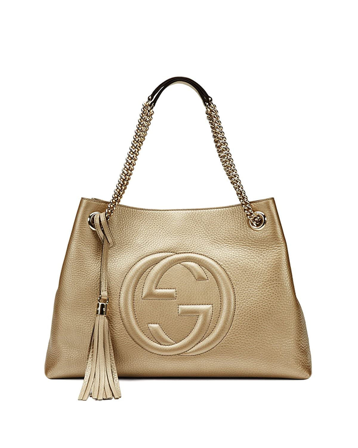 057e49cd9 Amazon.com: Gucci Soho Metallic Chain Medium Tote Golden Beige Leather New  Bag: Shoes