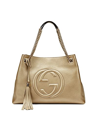 5dd3930b4b0 Amazon.com  Gucci Soho Metallic Chain Medium Tote Golden Beige Leather New  Bag  Shoes