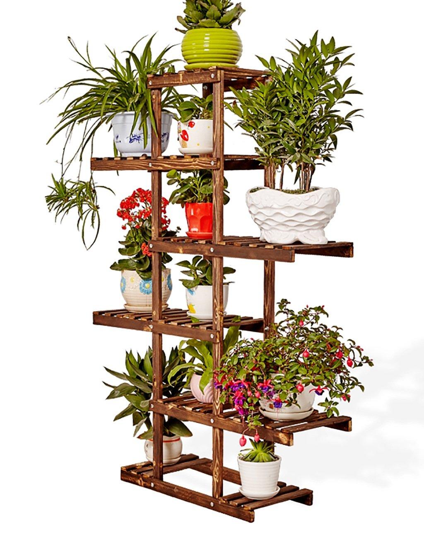 LB huajia ZHANWEI Massivholz-Blumenständer Balkon Wohnzimmer Mit Sechs Schichten Holz Blume Indoor Bonsai Blume Rack (Farbe : B)
