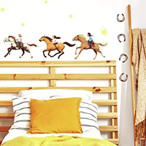 RoomMates Spirit Riding Free Peel and Stick Wall Decals , orange, brown, green - RMK4124SCS