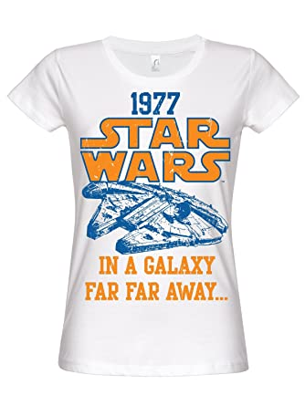 d0771f67da3aa5 Womens Star Wars 1977-T-Shirt Weiß XXL Weiß  Amazon.de  Bekleidung