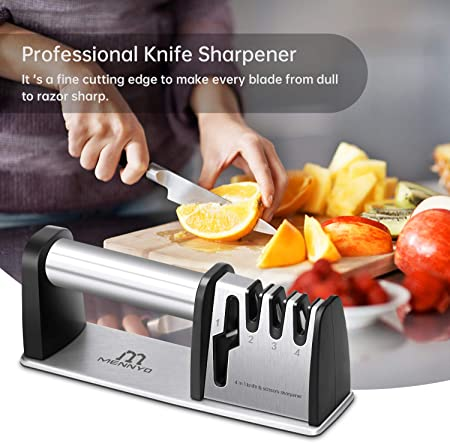 MENNEYO Afilador de Cuchillos Profesional, 4 en 1 Afilador de Cuchillos de Cocina, 4 Etapas Afiladores Manuales Knife Sharpener para Afilar Cuchillos, Tijeras, Navajas, Cuchillos Jamoneros
