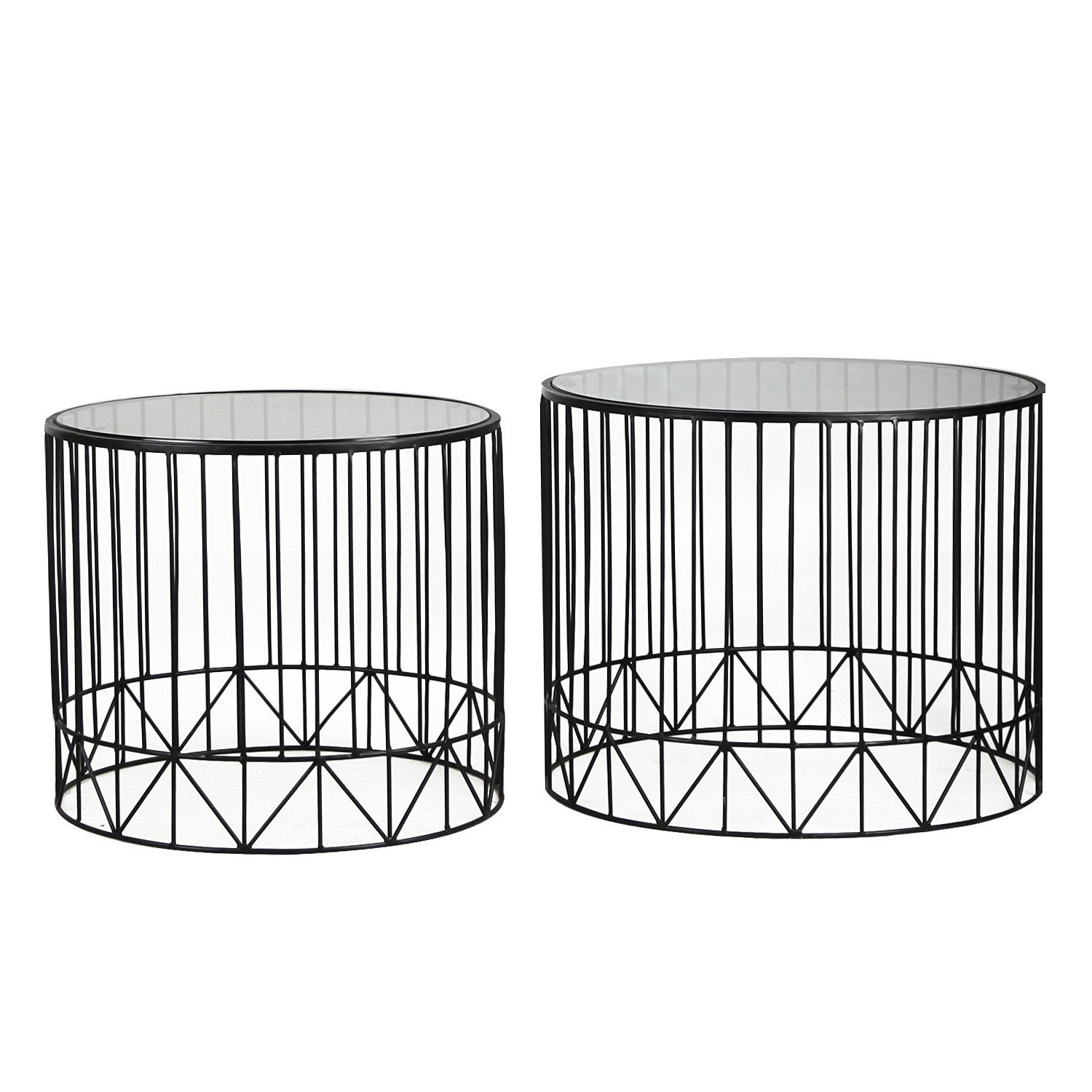 DecentHome Round Metal Nesting Side End Table with Glass Top (Gold, Set of 2) AFT MIX