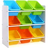 HOMFA Kid's Toy Storage Organizer with 9 Plastic Bins for Kids Bedroom Playroom,White/Primary