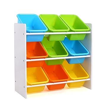 HOMFA Kidu0027s Toy Storage Organizer With 9 Plastic Bins For Kids Bedroom  Playroom,White/