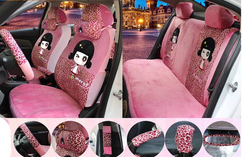 18pcs 1 sets popular plush Car Seat Cover Seating of Men&women Favorite Cartoon car seat cover Car Covers Interior Accessories Four Seasons half Leopard pink by Maimai88