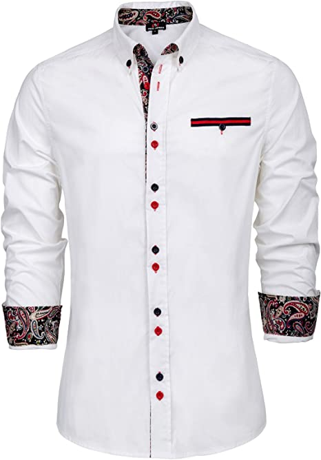 Men/'s Size XXL Buckle Black Athletic Fit Contrast Long Sleeve Button-Up Shirt