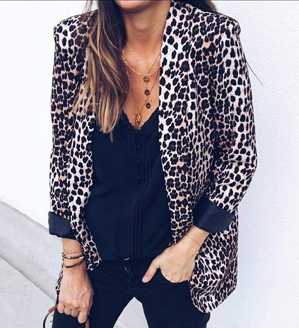 RDHOPE-Women Painting Leopard Casual Fold-Collar Cardigan Blazer Suit Jacket