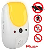 [UPGRADED] SANIA Pest Repeller - effective sonic defense repellant keeps roaches, spiders, mosquitos, mice, bed bugs away - electronic ultrasonic deterrent for inside your home - relaxing amber light