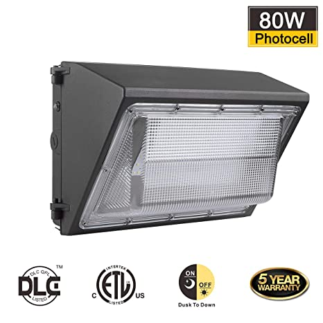 online store ac79e c7afc BloomGrow 80W Wall Pack LED Wall Lights w/Photocell Sensor ...