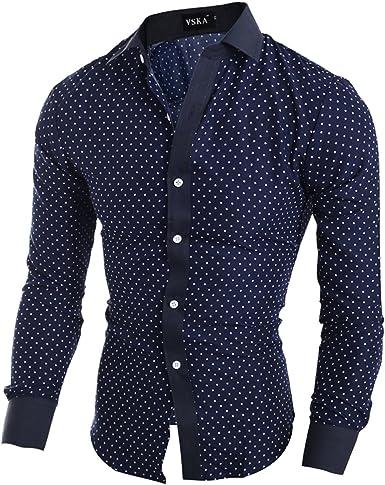 Elonglin - Camisa de manga larga para hombre, diseño de lunares, color azul marino y blanco: Amazon.es: Ropa y accesorios