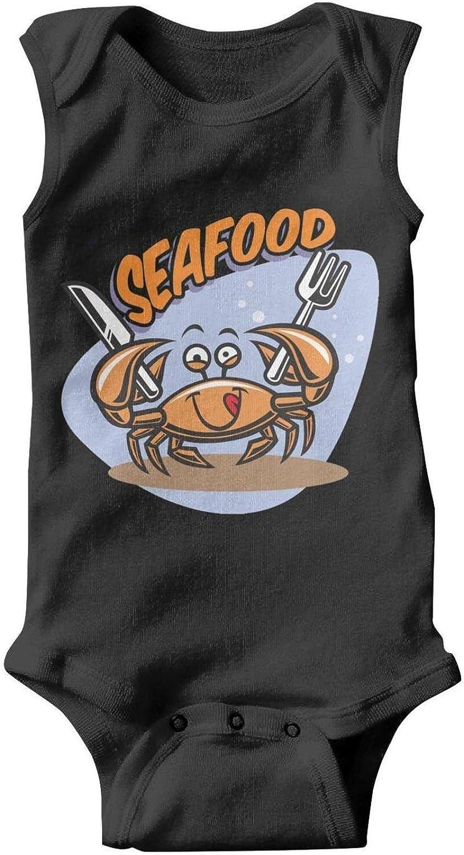 Voslin Red Crab Funny Cartoon Amazing Unisex Baby boy Black Romper Lovely