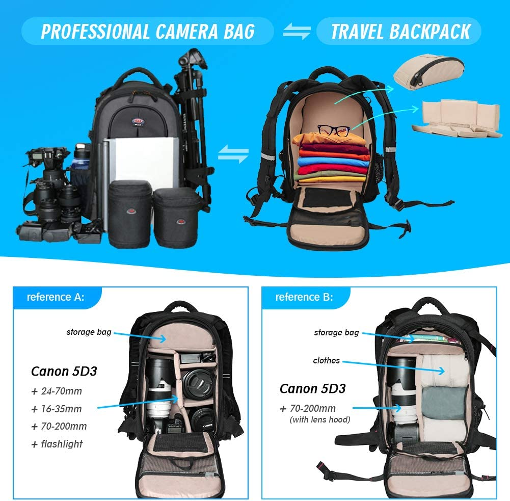 DSLR Camera Bag Nikon Waterproof Backpack with 12 Laptop Compartment Camera Case Travel Backpack Anti Theft Camera Case Bag for Canon Nikon Sony DSLR//SLR Cameras and Accessories