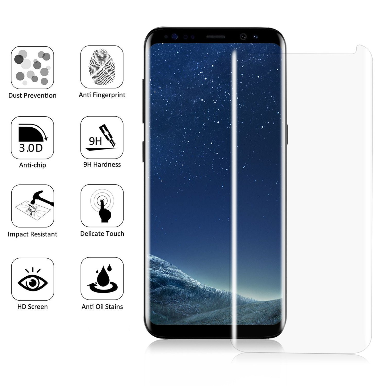 Samsung Galaxy S8 Plus Screen Protector [Full Cover] KUMIHO Tempered Glass Screen Protector For S8 0 25mm Screen Protection Case Fit Touch Accurate with
