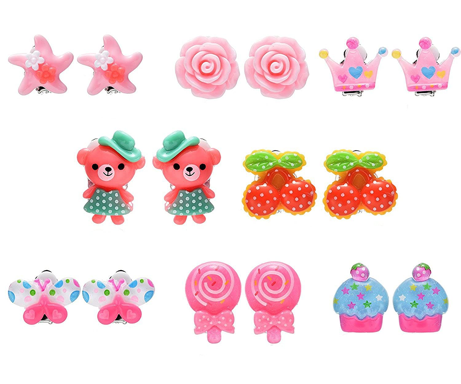 8 Pairs Animal Flower Princess Clip On Earrings Set for Kids Toddler Little Girls Dragon Fashion
