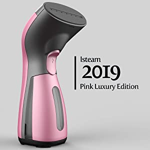 iSteam Luxury Edition [2019] Steamer for Clothes 8-in-1 Powerful Clothes Wrinkle Remover- Clean- Sterilize- Sanitize- Refresh- Treat- Defrost -for Garment/Home/Kitchen/Bathroom/Car/Face/Travel [Pink]