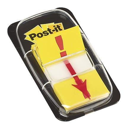 Post-it Index amarillo con símbolo EXCLAMACIÓN. Dispensador std 1x50