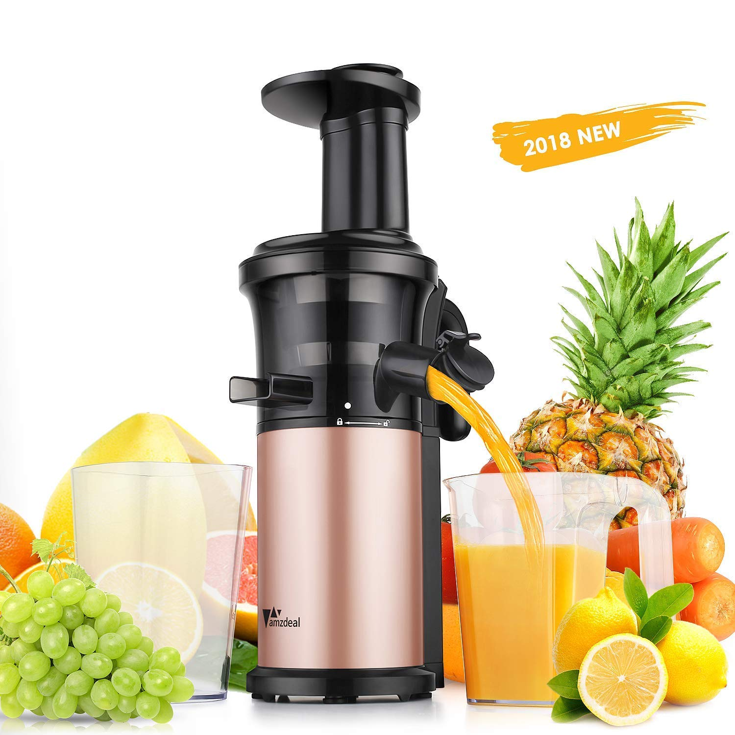 Juicer Amzdeal Slow Juicer - Masticating Juicer Machine Cold Press Juicer BPA Free for High Nutrient Fruits and Vegetables Juice Easy to Clean 200w SJE-006