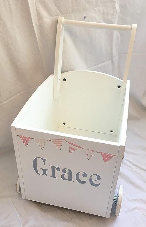 Walker carrito de almacenamiento Caja de juguetes de madera para niños personalizada: Amazon.es: Hogar
