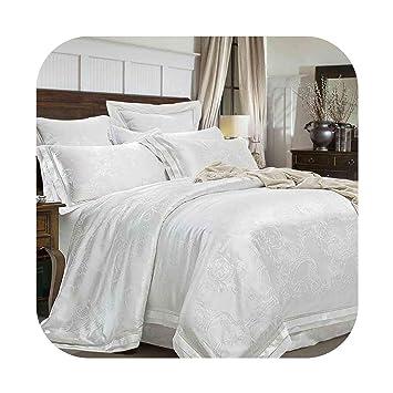 Amazon Com Tokyo Cold 4 6pcs Green Jacquard Satin Bedding Set