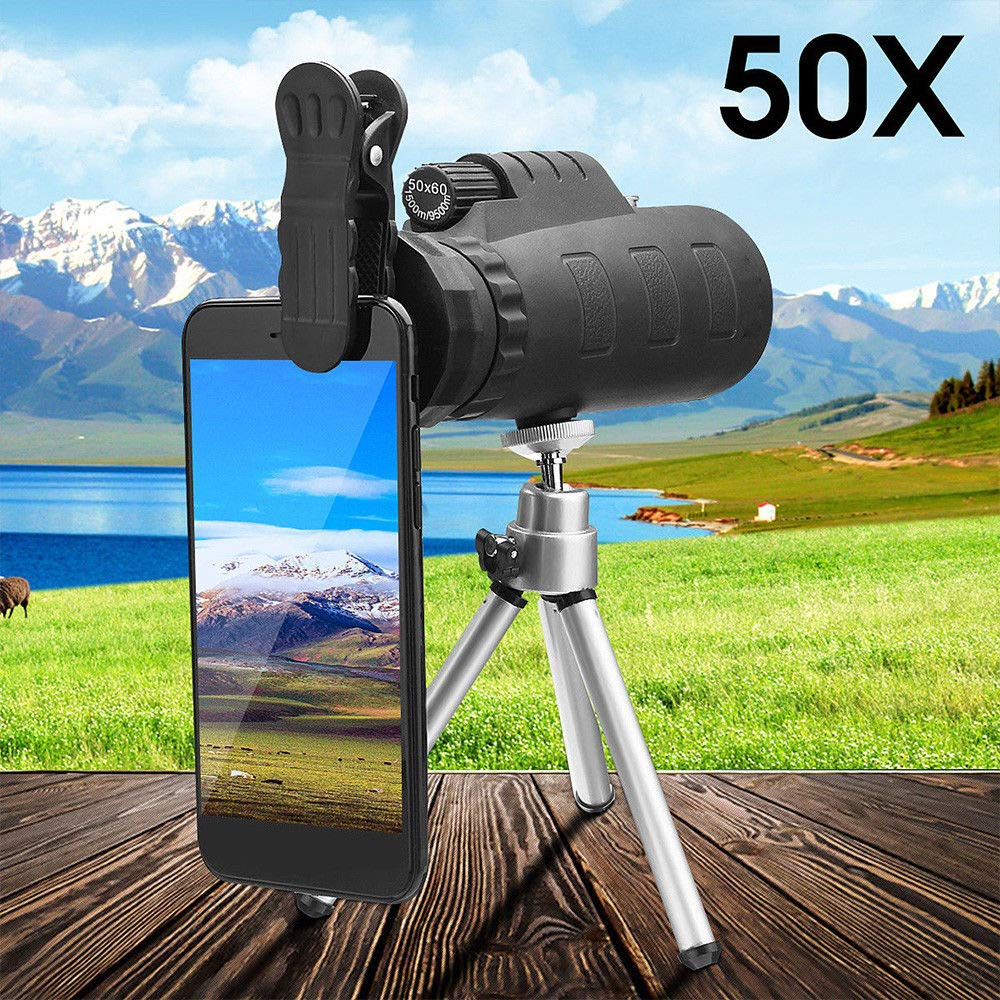 FidgetFidget Black Monocular 50X Zoom Night Vision Telescope + Clip + Tripod for Mobile Phone