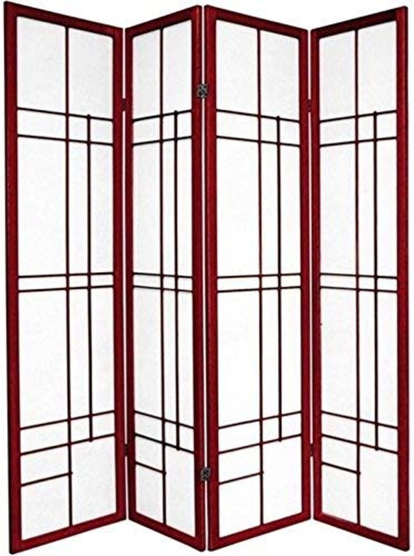 Oriental Furniture 6 ft. Tall Eudes Shoji Screen - Rosewood - 4 Panels