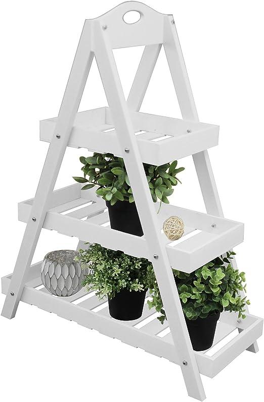 Madera Flores expositor con 3 niveles 24 x 60 x h70 cm Blanco Puro Flor Escaleras Jardín Estantería Macetas Flores Soporte: Amazon.es: Jardín