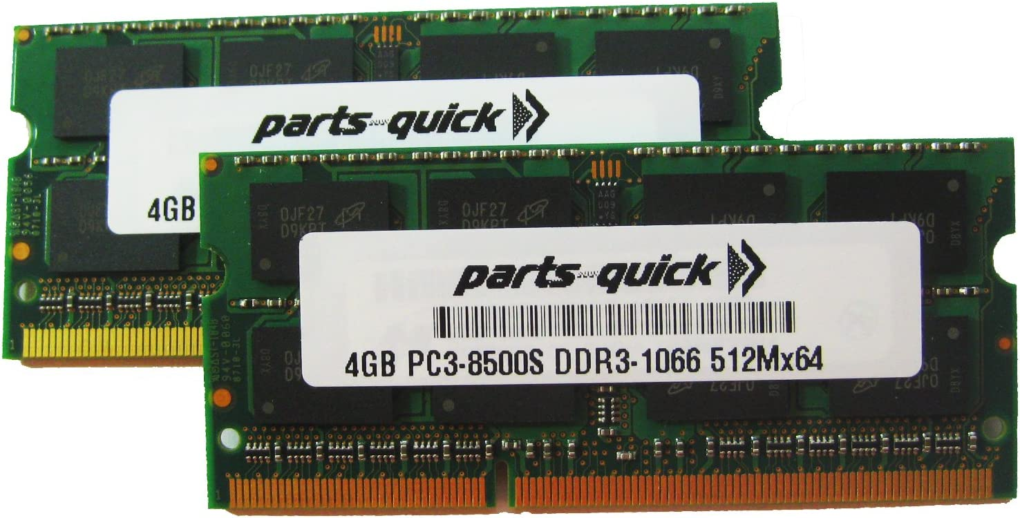 8GB 2X 4GB PC3-8500 1067MHz DDR3 Memory Compatible with Apple RAM SODIMM 204pin (PARTS-QUICK Brand)