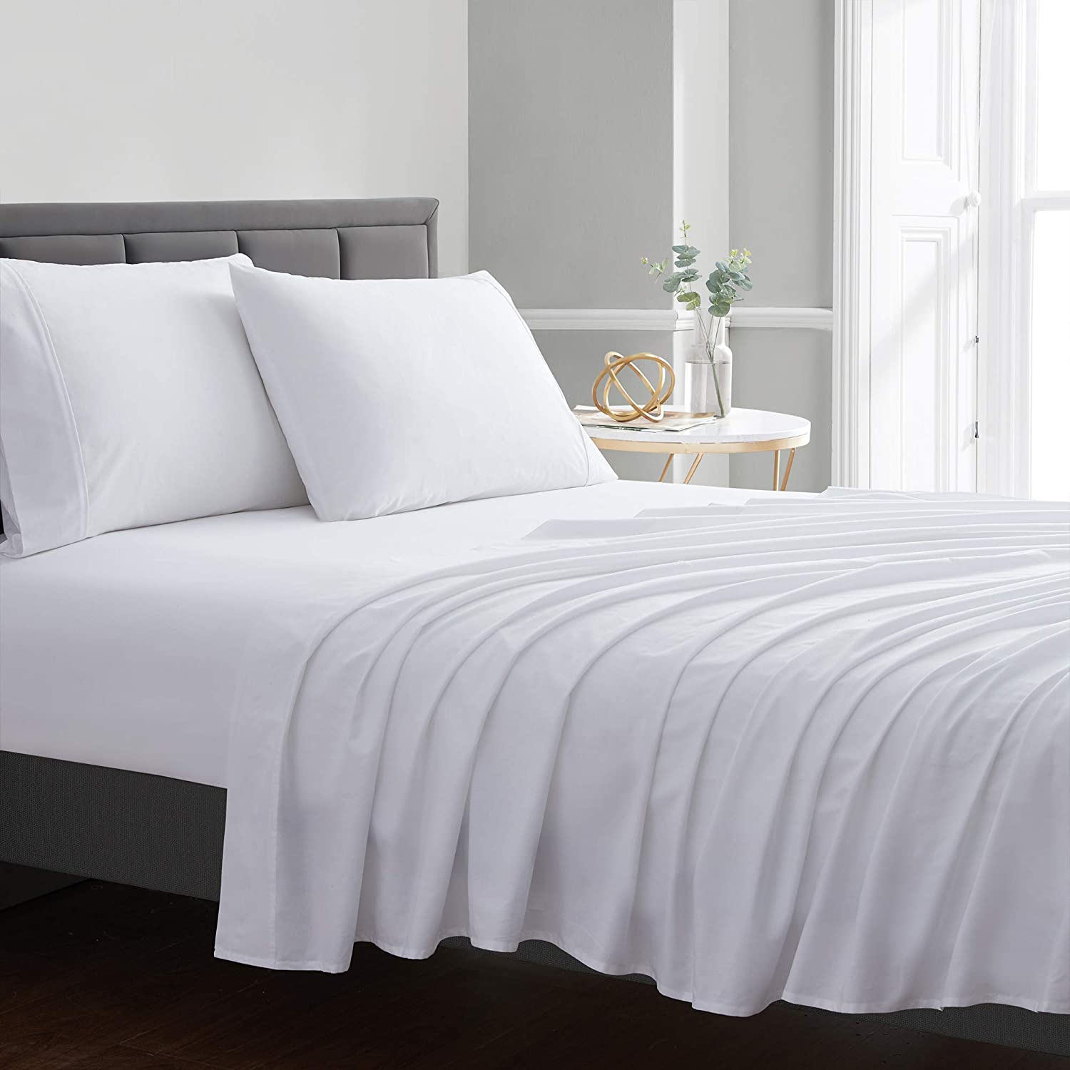 Sweet Home Collection Pure Cotton Soft Bed Sheet Set - Premium Soft & Breathable Luxury Staple Quality Sheeting - 100% Cotton Sheet Set - Queen, White