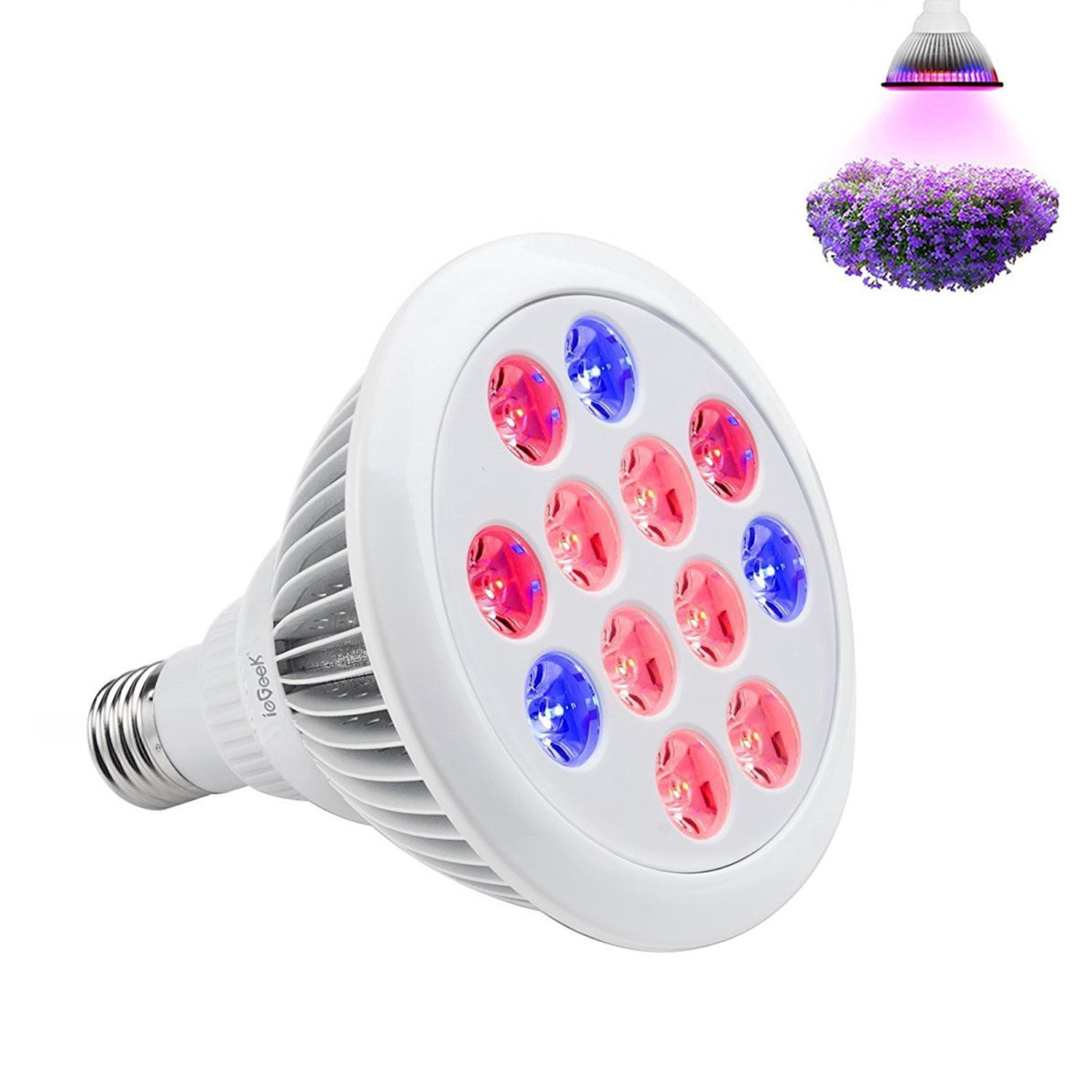 ieGeek 24W LED Plant Growing Light Lamp Bulb, Red Blue Spectrum High Efficient for indoor Plants Hydroponic System Greenhouse Grow Tent (E27 Screw)