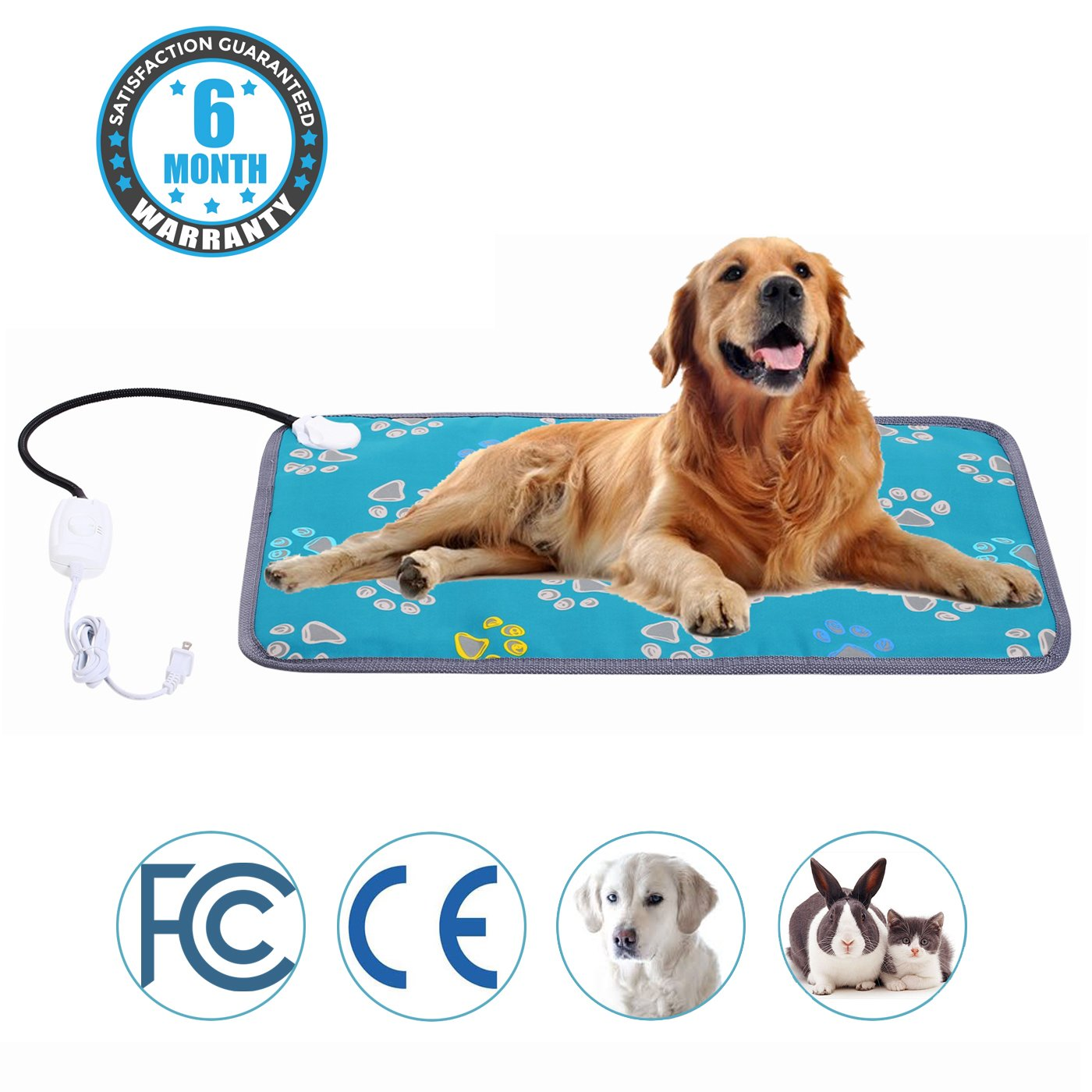 Mazort Pet Heating Pad Cats and Dogs Safety Electric Heated Pet Bed Warming Mat with 2 Adjustable Temperature Chew Resistant Cord 19.6'' x 27.5''