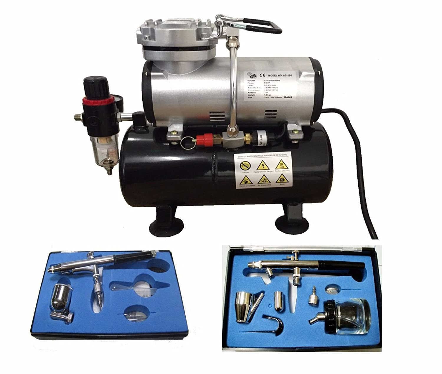 RDGTOOLS AIRBRUSH COMPRESSOR WITH TANK AIR BRUSHES 132 + 128 AND HOSE