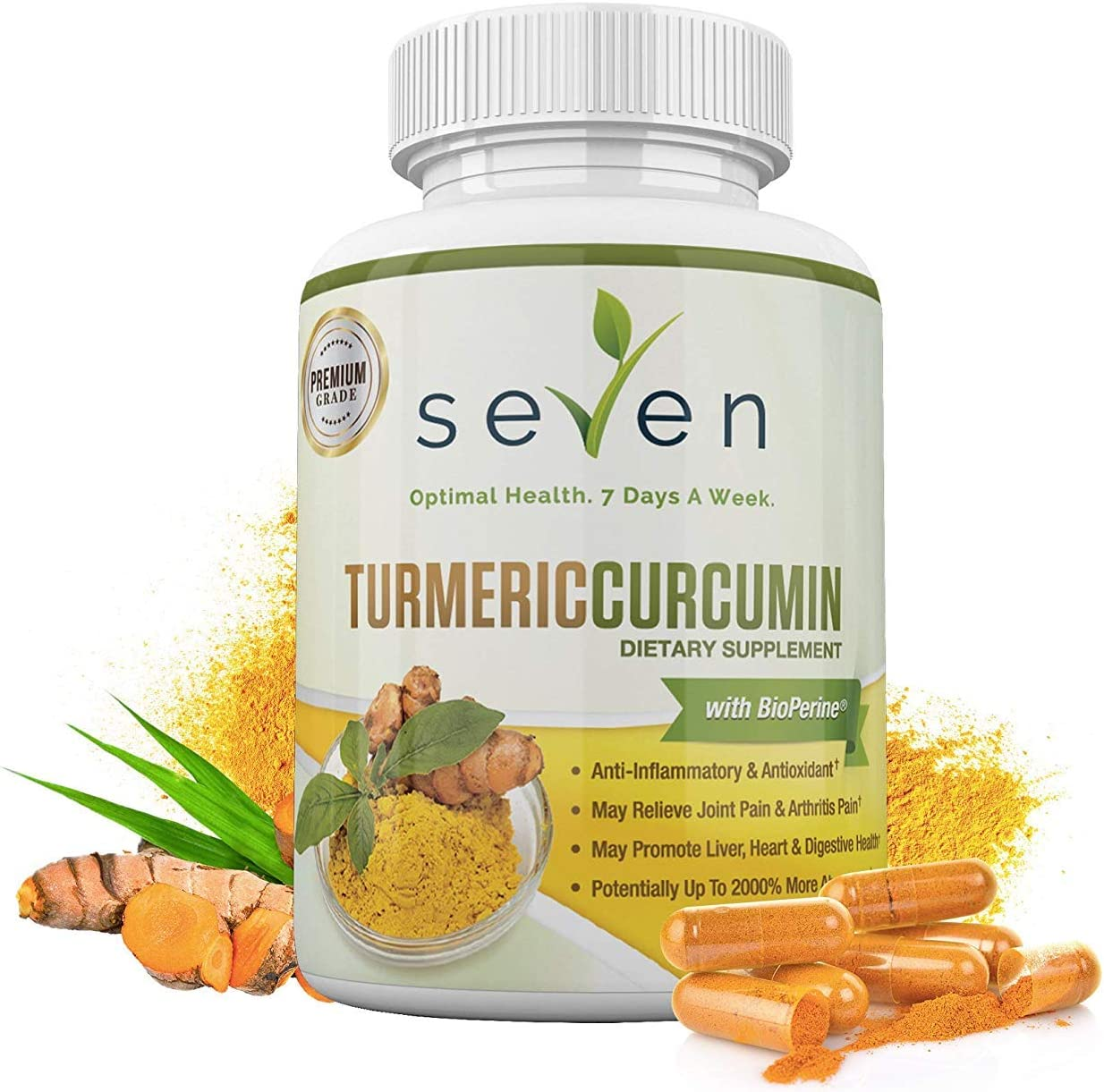 Turmeric Curcumin Supplement 1300mg BioPerine – 30 Day Supply of Highest Potency 95 Standardized Curcuminoids for Joint Pain Relief and Anti Inflammatory by Seven Nutrition