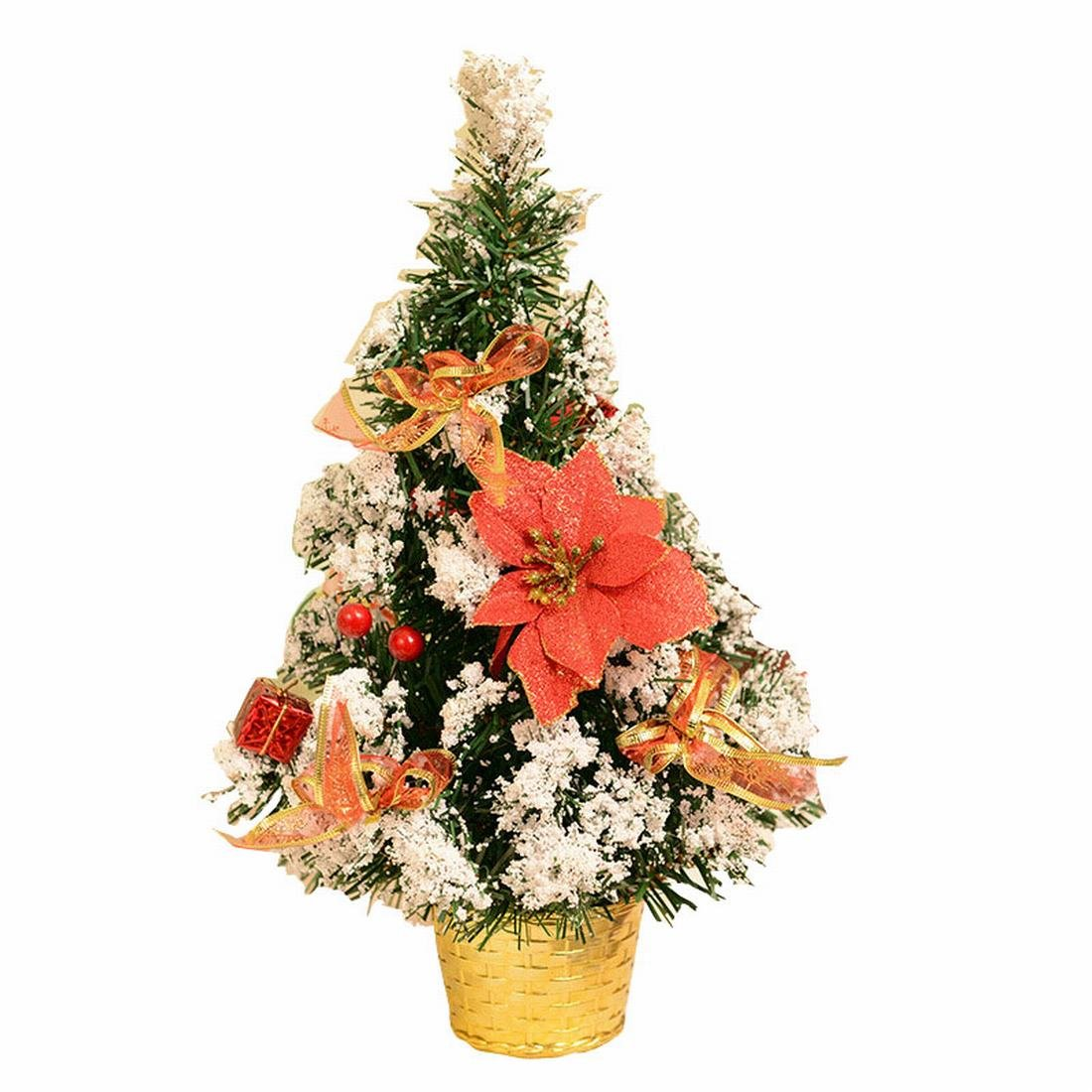 Small Artificial Christmas Tree Decorated Gife Red Berries Ornaments - 16'' Tall Tabletop (Red) (Red)