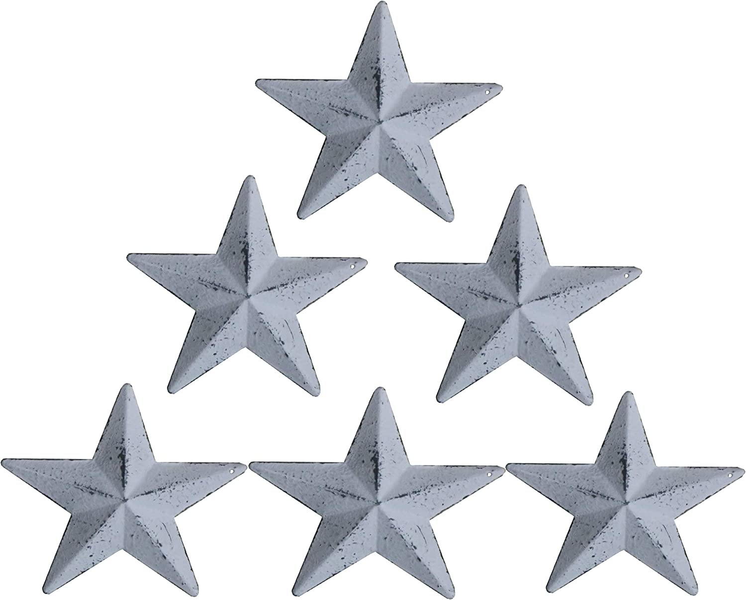 TAIANLE. Metal Barn Star,Wash White Color,Craft Tin Star For Wall,Country Rustic Antique Vintage Gifts Wall/Door Decor, 5-1/2 Inch, Set of 6
