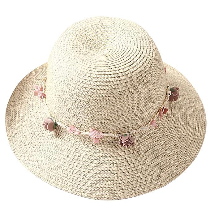 Gespout Simpatico Cappello di Paglia per Ragazza Cappello a Tesa Larga a  Cupola Fiore di Rosa a5ddf610f9b7