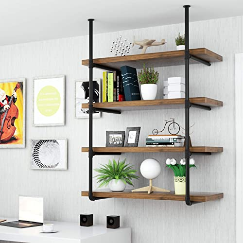 Mecor Industrial Wall Shelf 4-Tier Boards Included, Wall Mount Iron Pipe Shelves, Wood and Metal Frame Wall Bookcase