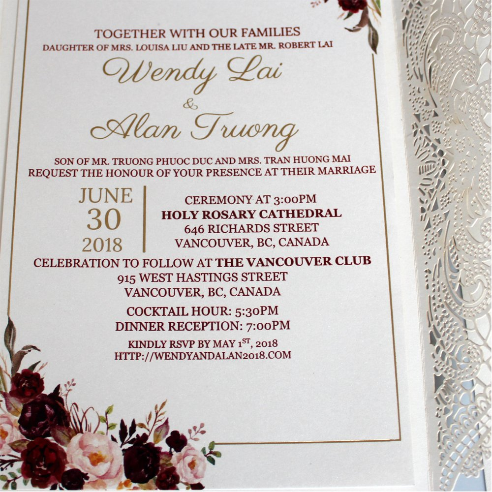 Amazon.com: Elegant Lace Wedding Invitations Blank or Customized ...