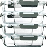 [8-Pack,30 oz]Glass Meal Prep Containers,MCIRCO Glass Food Storage Containers,Airtight Glass lunch Containers with Lids - BPA