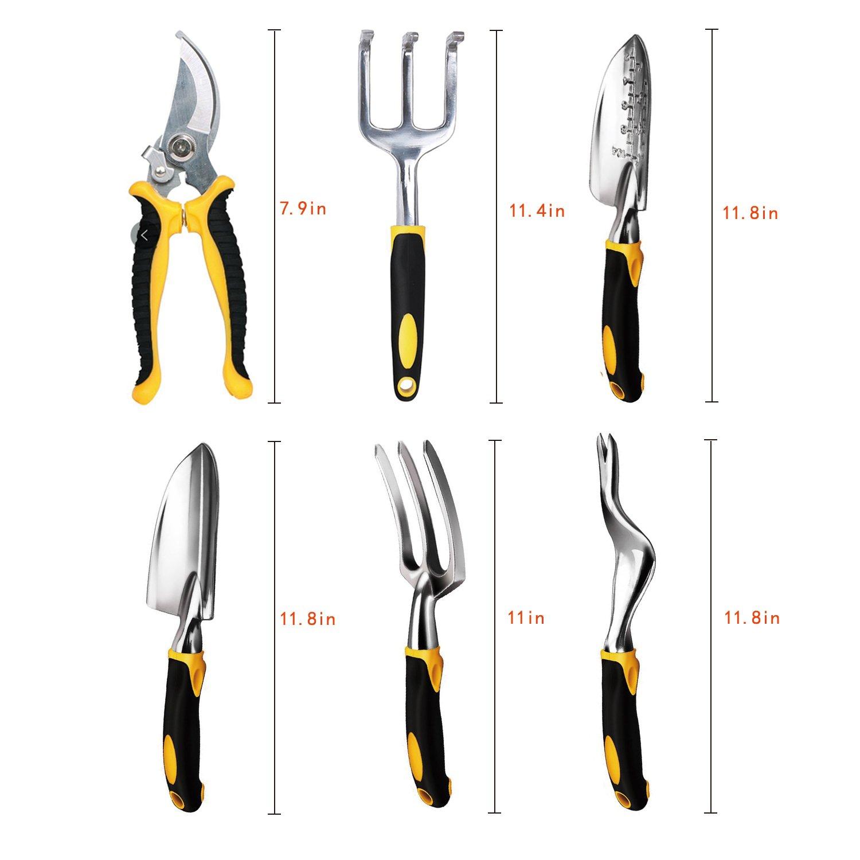 Garden Tools Set, RealTX 11 PCS Gardening Tools Set with Storage Organizer Tote, Include Garden Gloves Shove,Gardening Pruner Rake,Soil PH Meter,Ergonomic Gardening Gifts Tool Set for Women Men Adults