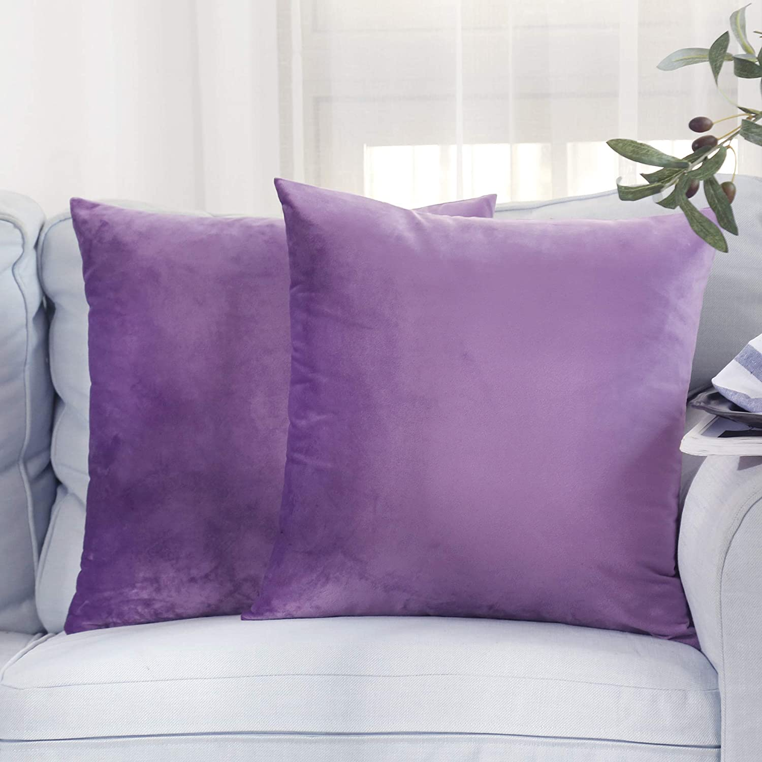 HUILIANG Pack of 2, Velvet Soft Soild Decorative Square Throw Pillow Covers Home Decor Design Set Cushion Case for Sofa Bedroom Car 18 x 18 Inch 45 x 45 cm (Purple)